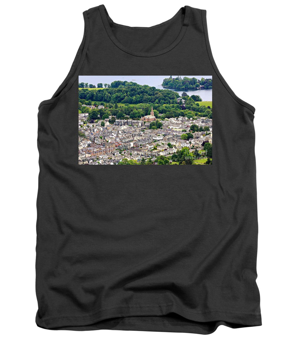 Aerial Tank Top featuring the photograph Aerial View Of Keswick In The Lake District Cumbria by Louise Heusinkveld
