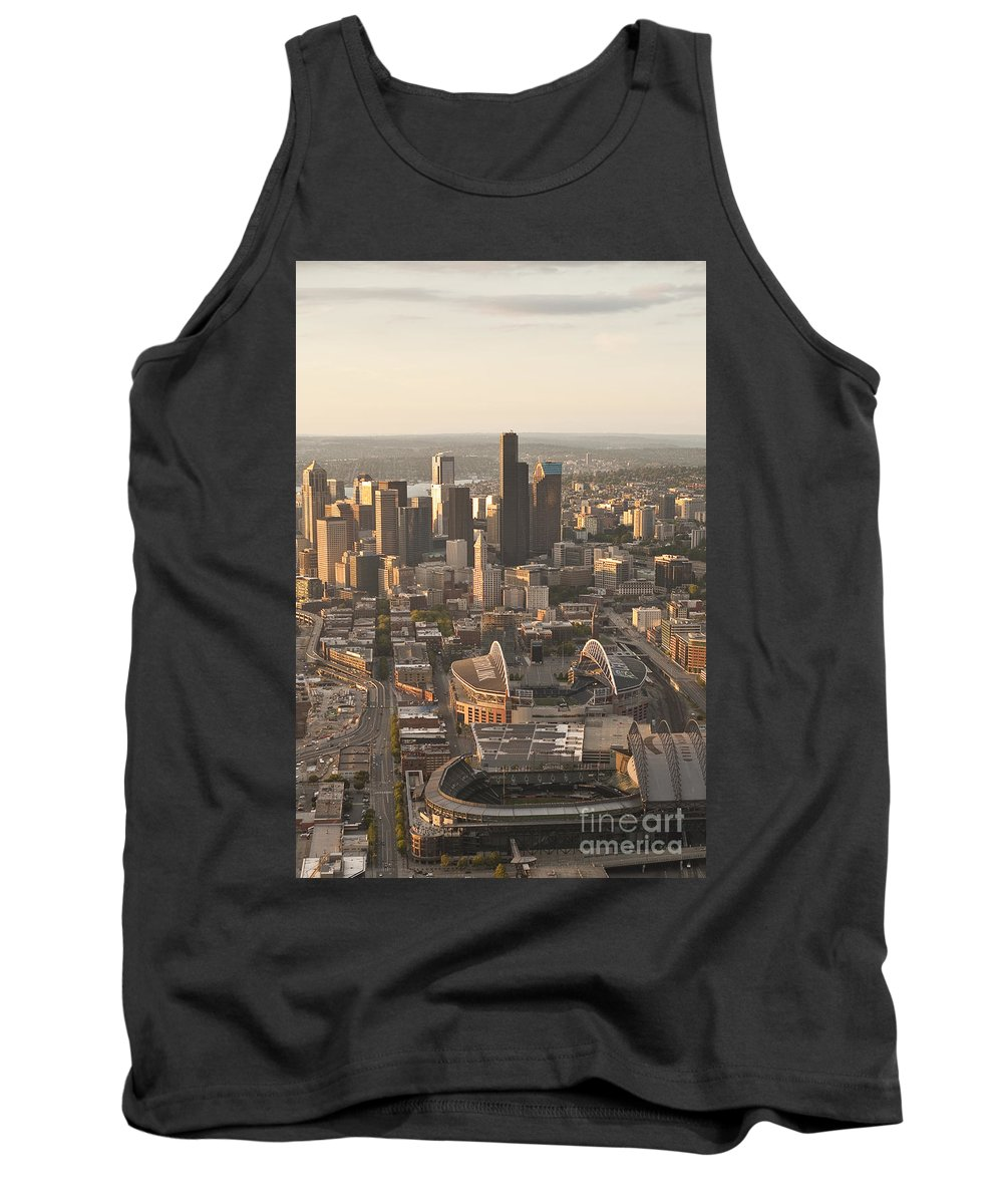Centurylink Field Tank Top featuring the photograph Aerial View Of The Seattle Skyline With Stadiums by Jim Corwin