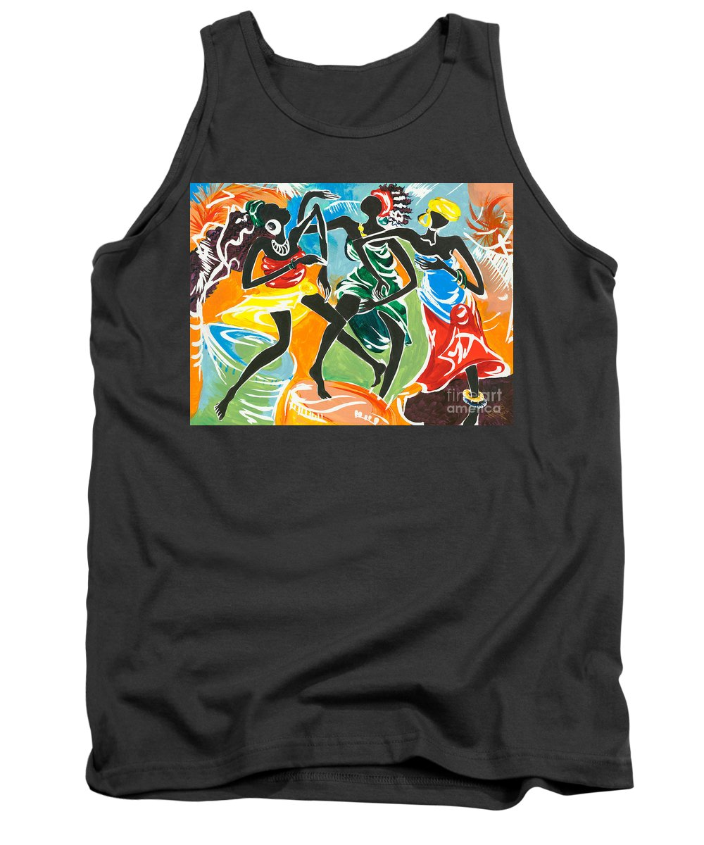 African Tank Top featuring the painting African Dancers No. 3 by Elisabeta Hermann