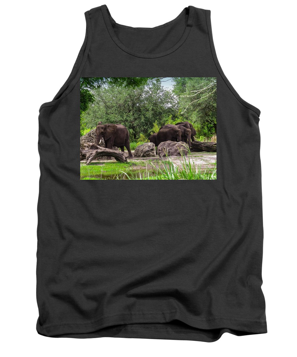 African Elephants Tank Top featuring the photograph African Elephants by Zina Stromberg
