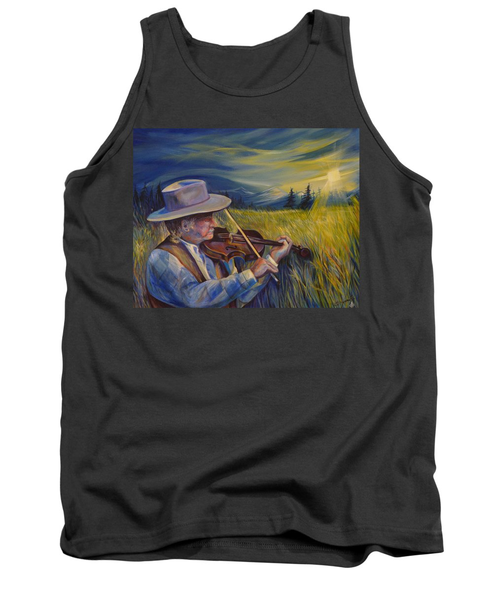 Western Art Tank Top featuring the painting Alberta Lullaby by Anna Duyunova