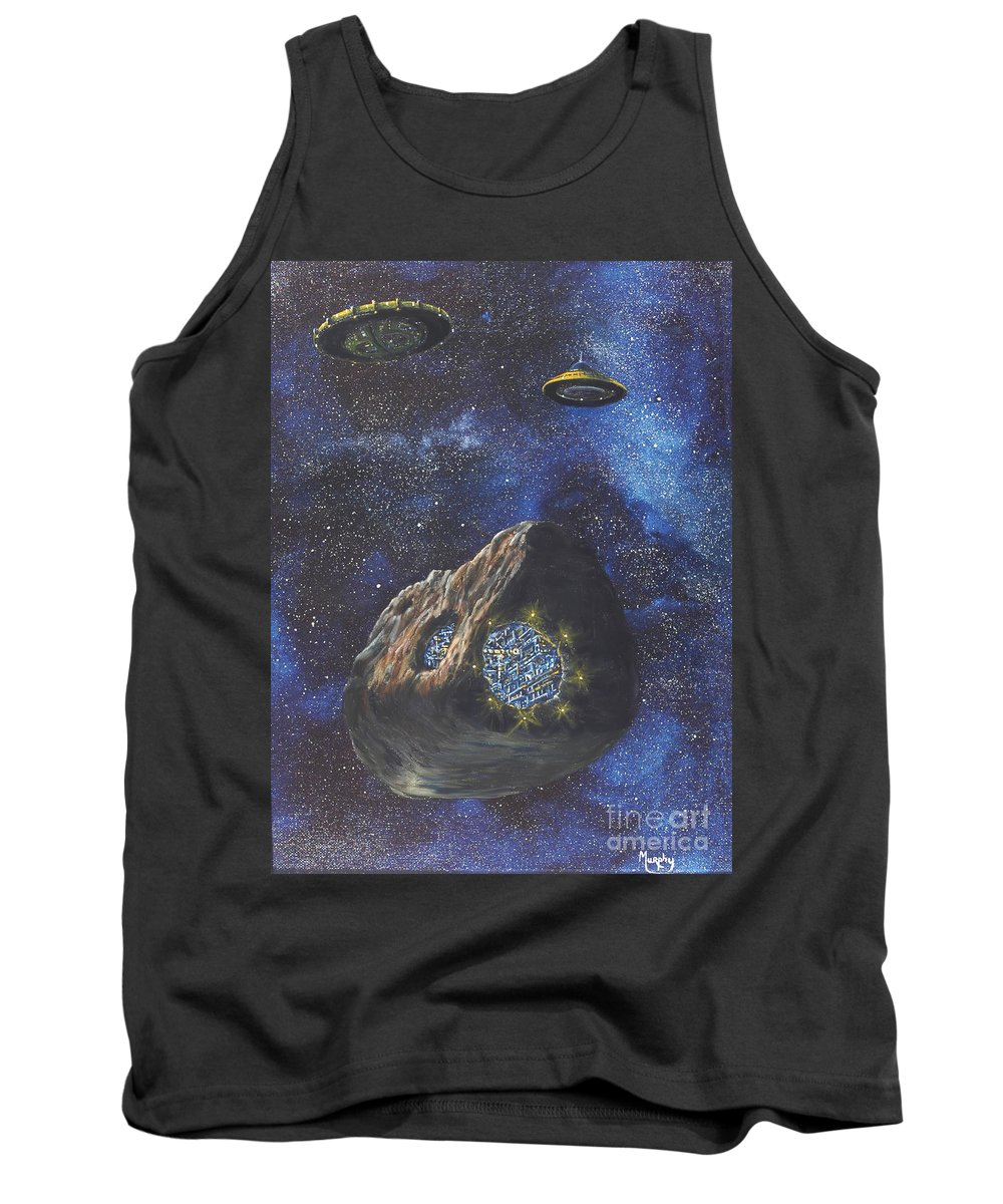 Painting Tank Top featuring the painting Alien Space Factory by Murphy Elliott