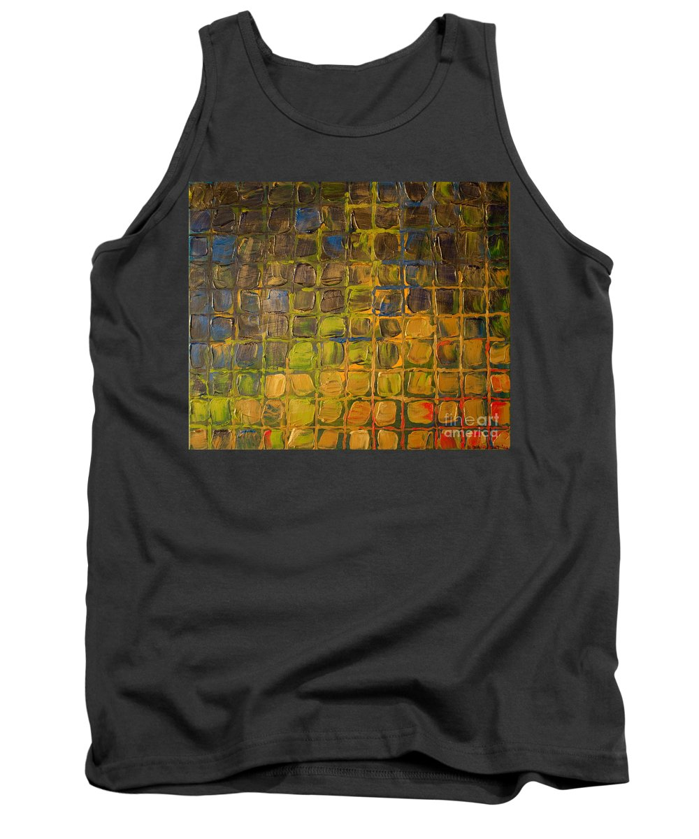 Dimensional Tank Top featuring the painting All Boxed In by Paulette B Wright