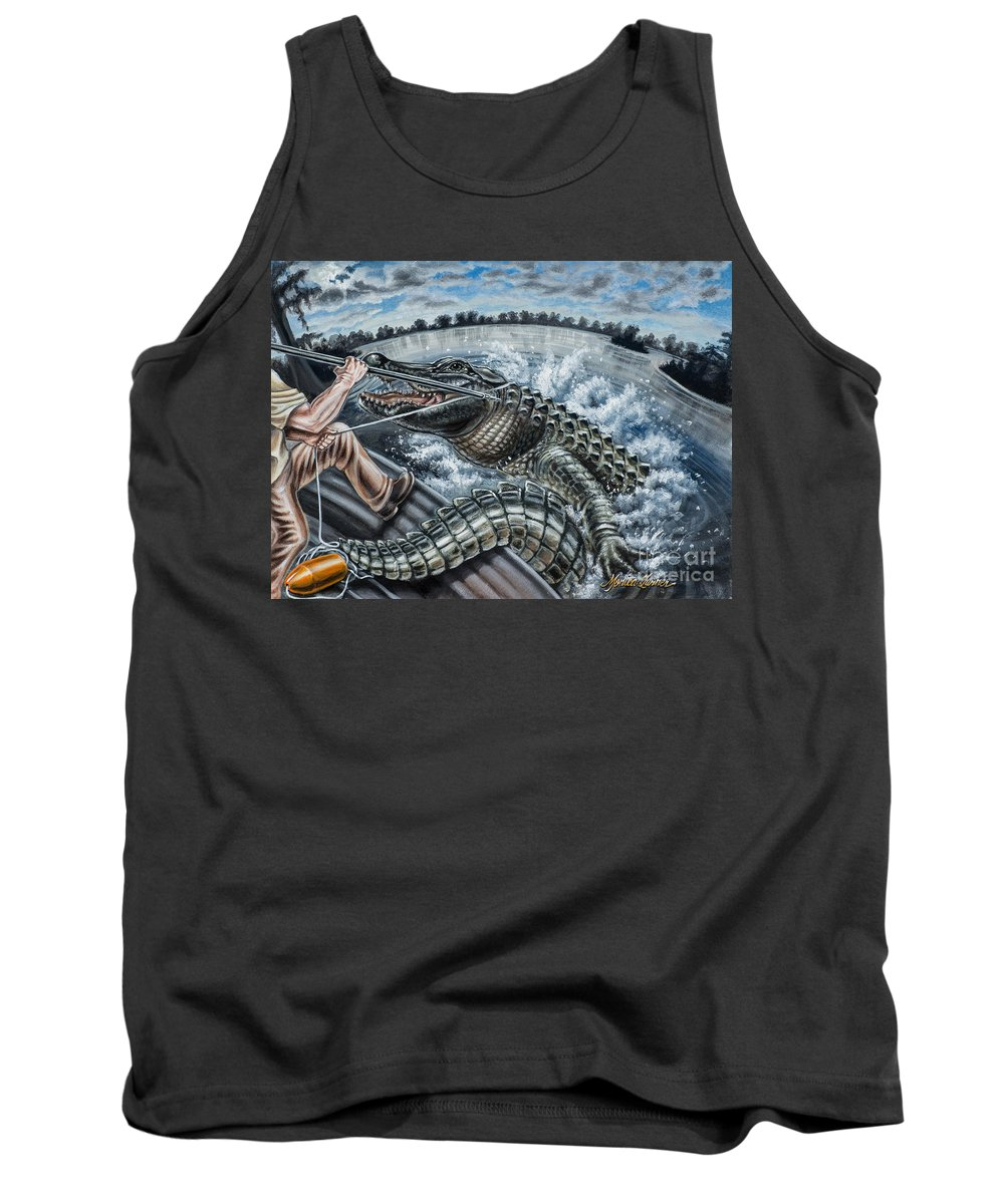 American Alligator Tank Top featuring the painting Alligator Hunt by Monica Turner