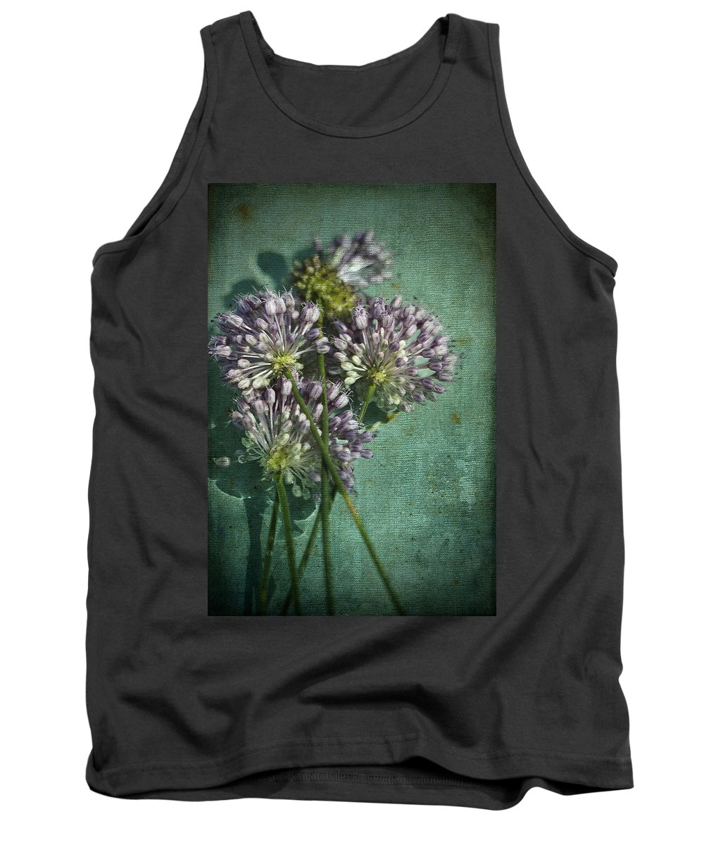 Allium Vineale Tank Top featuring the photograph Allium Wildflower With Grunge Textures by Kathy Clark