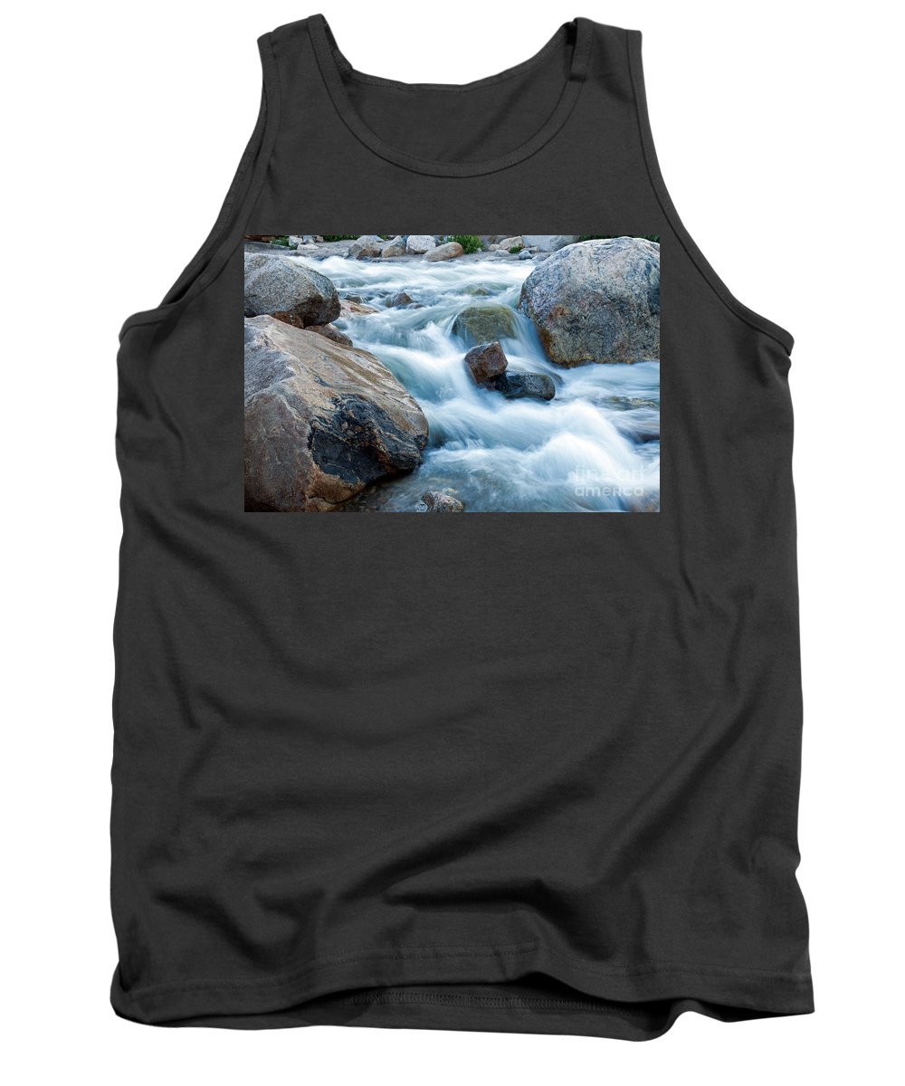 Alluvial Fan Falls Tank Top featuring the photograph Alluvial Fan Falls On Roaring River Inrocky Mountain National Park by Fred Stearns