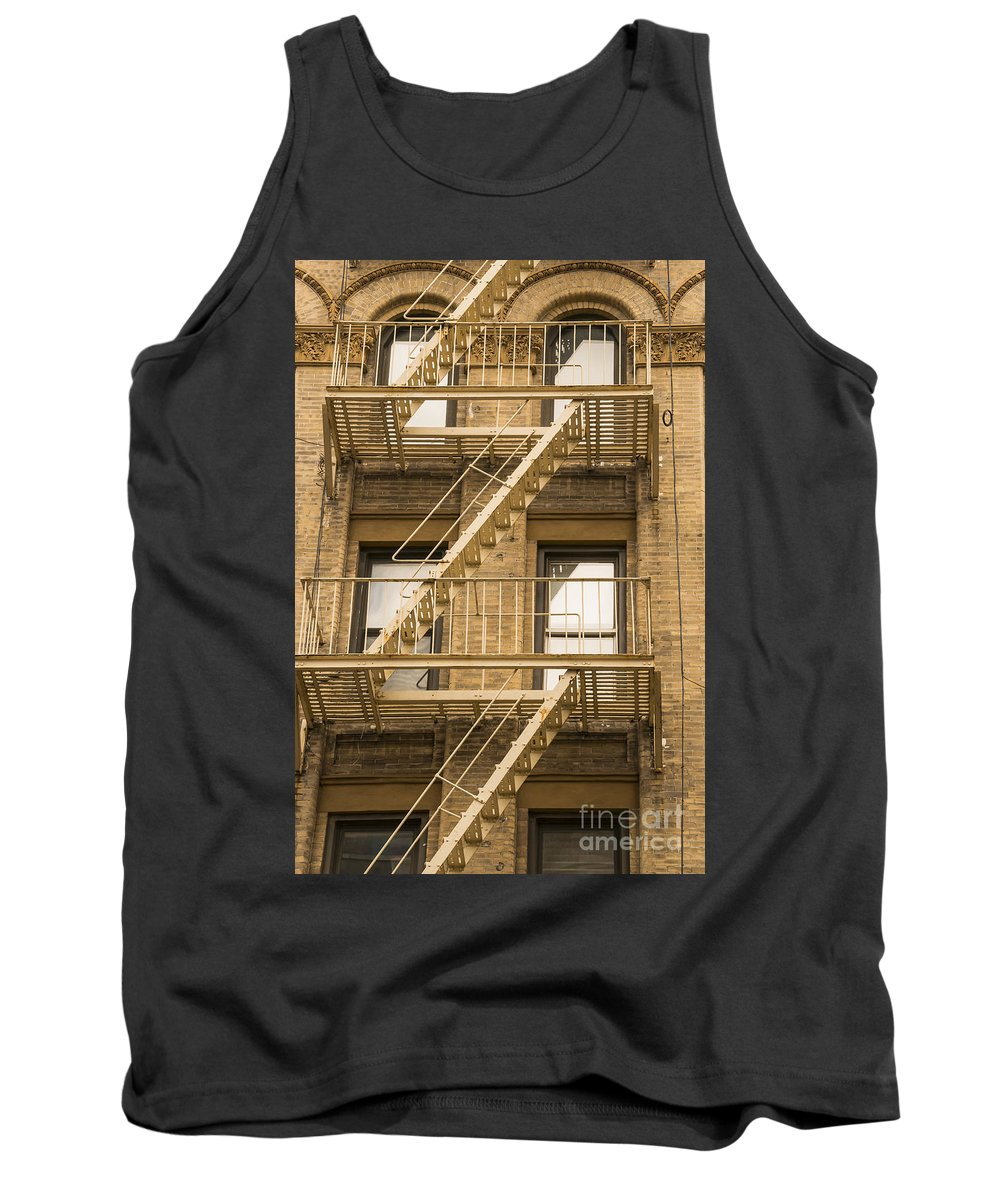Fire Escapes Building Buildings Structure Structures Architecture Window Windows Door Doors New York City Cities Cityscape Cityscapes Brick Bricks Tank Top featuring the photograph Alternative Way Out by Bob Phillips
