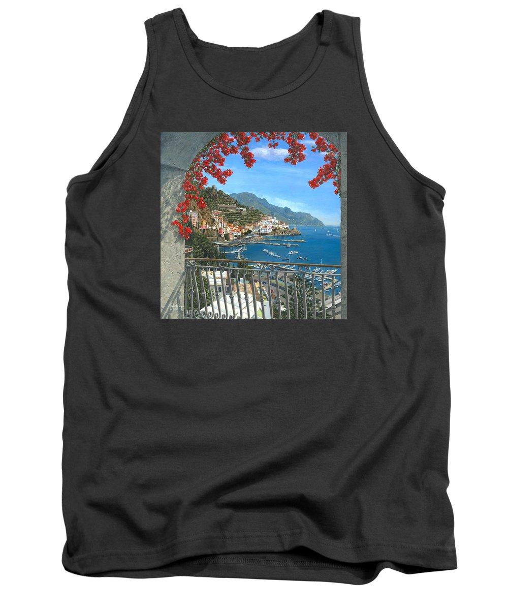 Landscape Tank Top featuring the painting Amalfi Vista by Richard Harpum