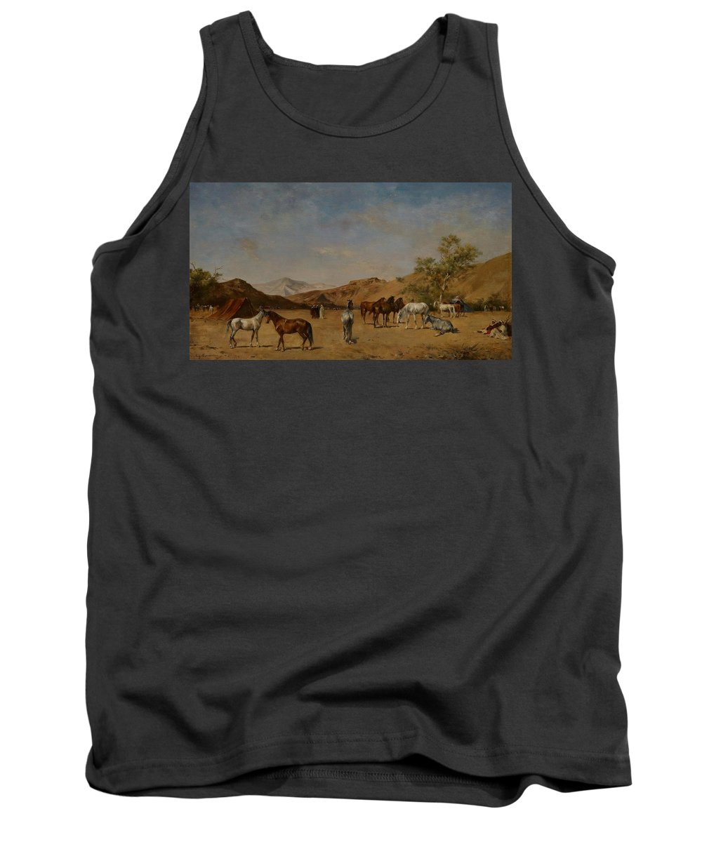 Arabian; Arabia; Middle East; Middle Eastern; Landscape; Desert; Horses; Horse; Mountains; Mountainous; Arid; Wilderness; Camp; Encampment; Travel; Travellers; Tent; Tents; Journey Tank Top featuring the painting An Arabian Camp by Eugene Fromentin