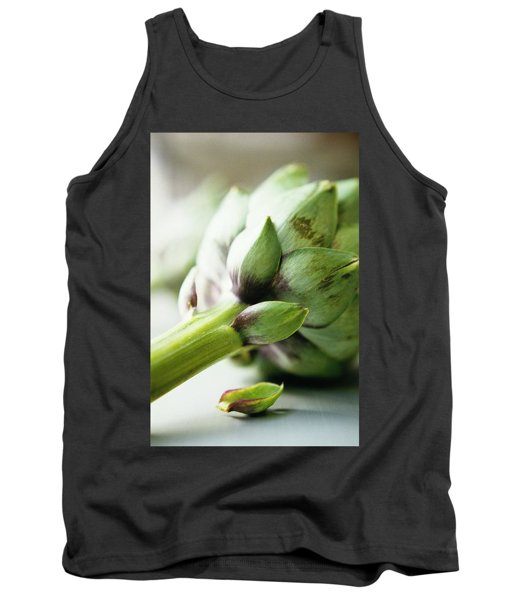 Fruits Tank Top featuring the photograph An Artichoke by Romulo Yanes
