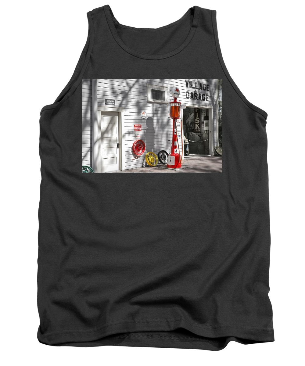 Garage Tank Top featuring the photograph An Old Village Gas Station by Mal Bray