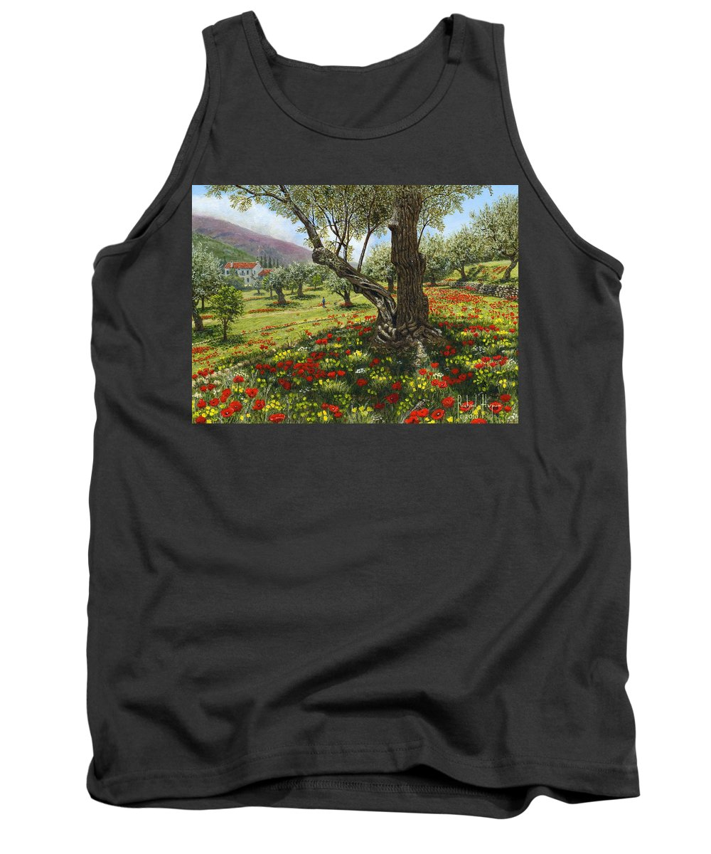 Andalucia Tank Top featuring the painting Andalucian Olive Grove by Richard Harpum