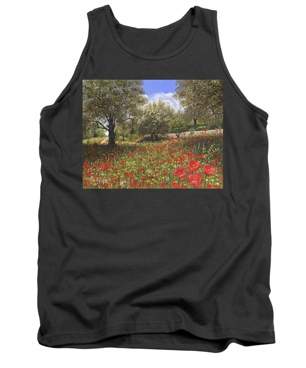 Landscape Tank Top featuring the painting Andalucian Poppies by Richard Harpum