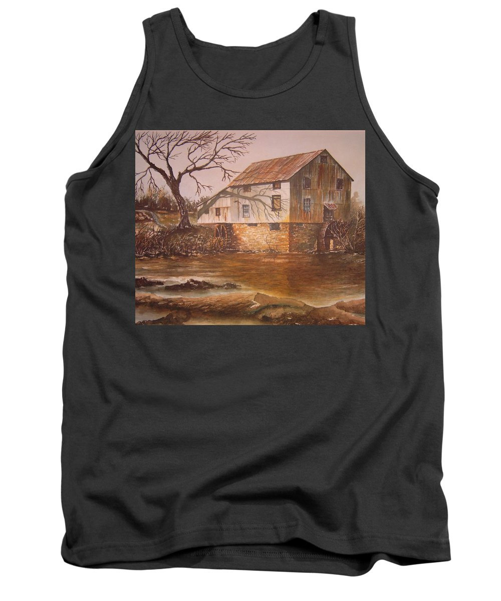Landscape Tank Top featuring the painting Anderson Mill by Ben Kiger