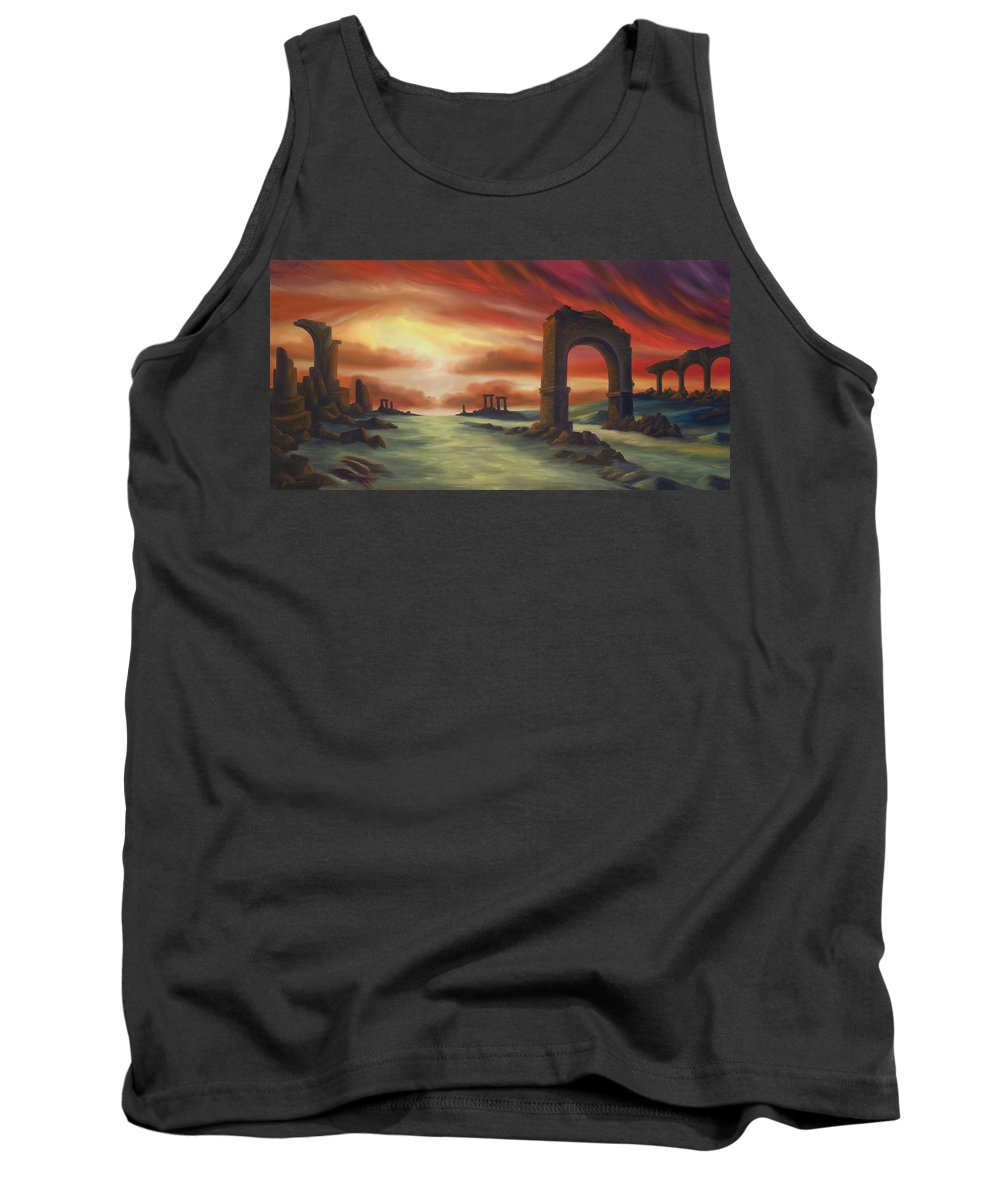 Sunset Tank Top featuring the painting Another Fallen Empire by James Christopher Hill