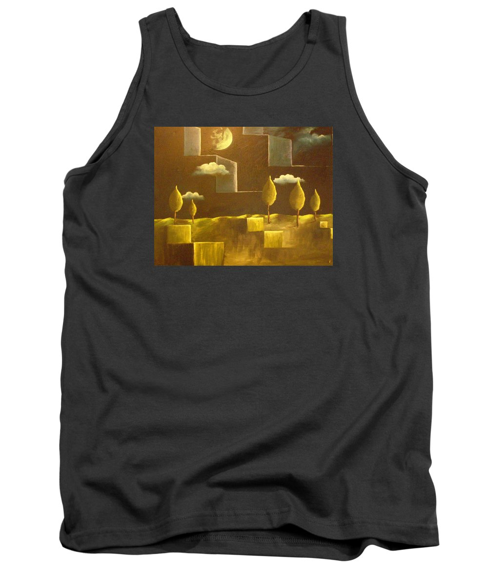 Surrealism Tank Top featuring the painting another World by Birgit Schnapp