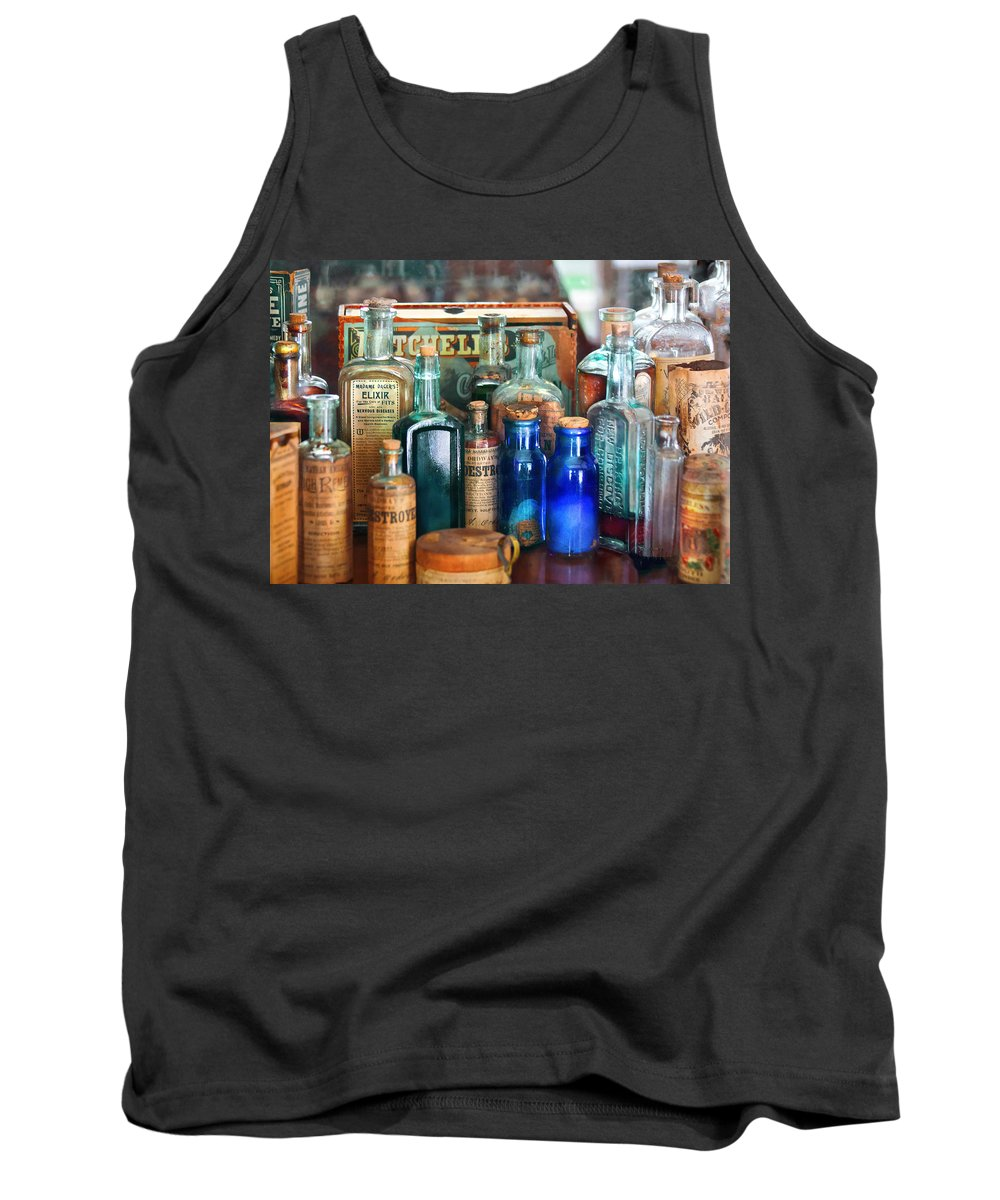 Pharmacy Tank Top featuring the photograph Apothecary - Remedies For The Fits by Mike Savad