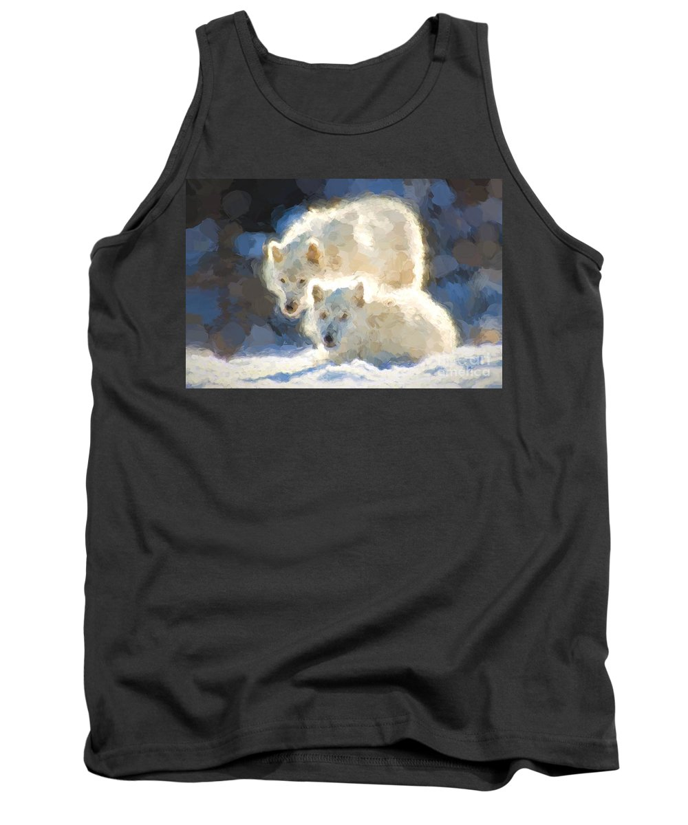 Arctic Tank Top featuring the photograph Arctic Wolves - Painterly by Les Palenik