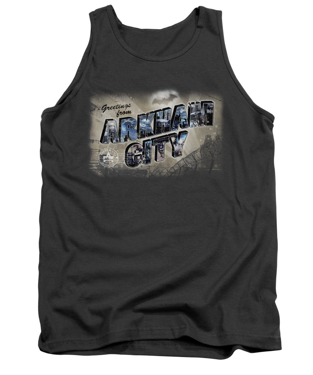 Arkham City Tank Top featuring the digital art Arkham City - Greetings From Arkham by Brand A