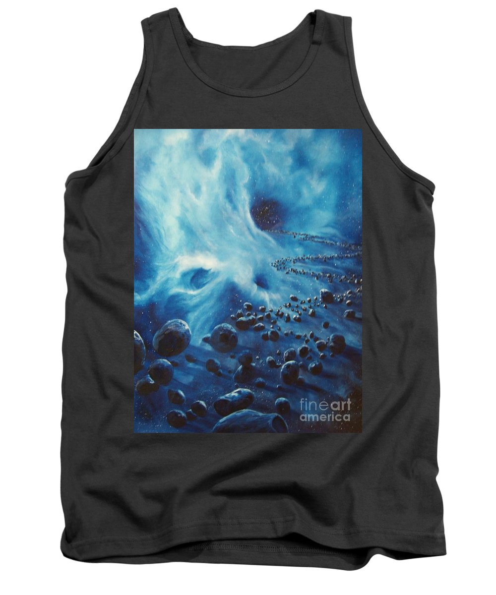 Si-fi Tank Top featuring the painting Asteroid River by Murphy Elliott
