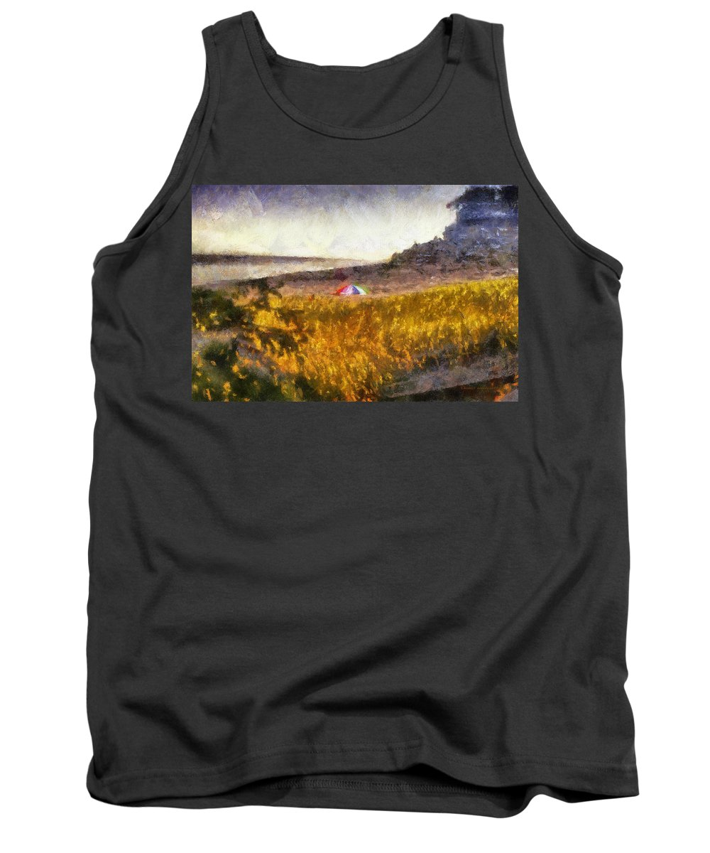 Ocean Tank Top featuring the photograph At The Beach Photo Art 01 by Thomas Woolworth