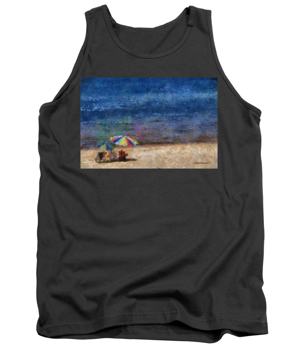 Ocean Tank Top featuring the photograph At The Beach Photo Art 04 by Thomas Woolworth