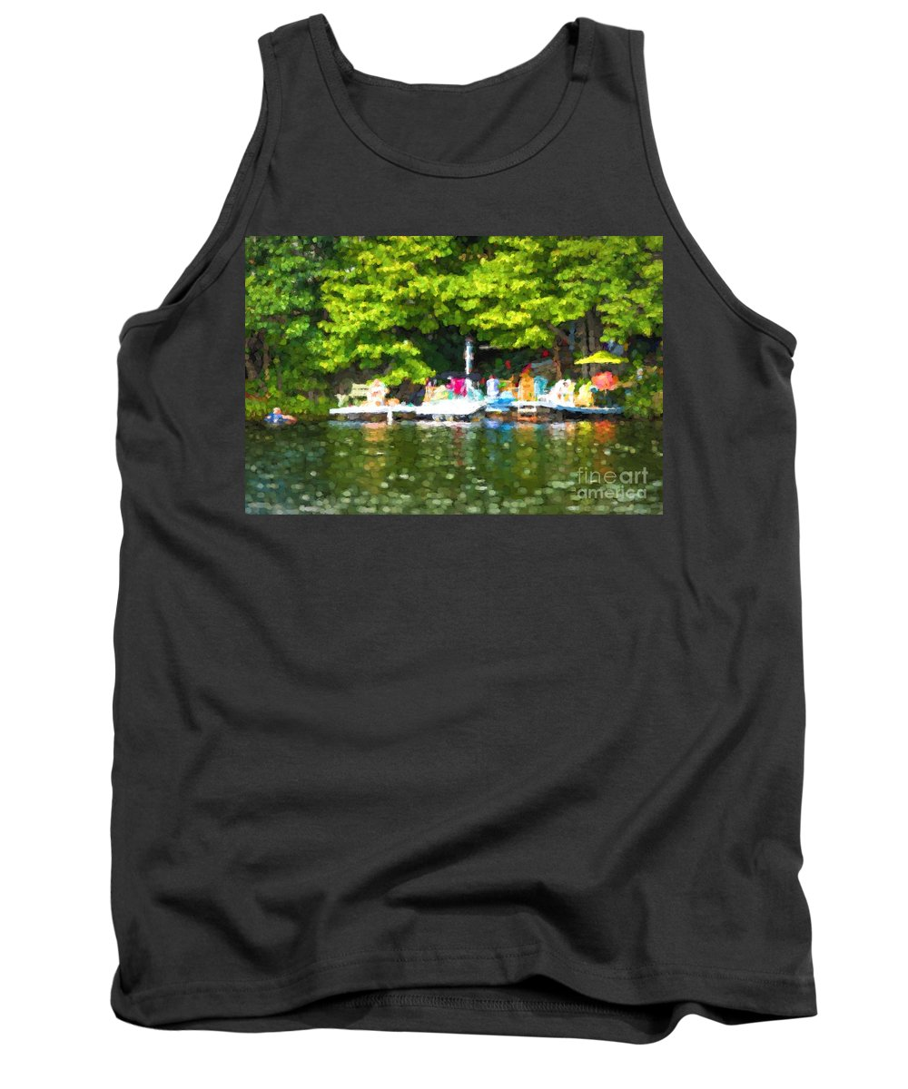 Dock Tank Top featuring the photograph At The Cottage Dock by Les Palenik