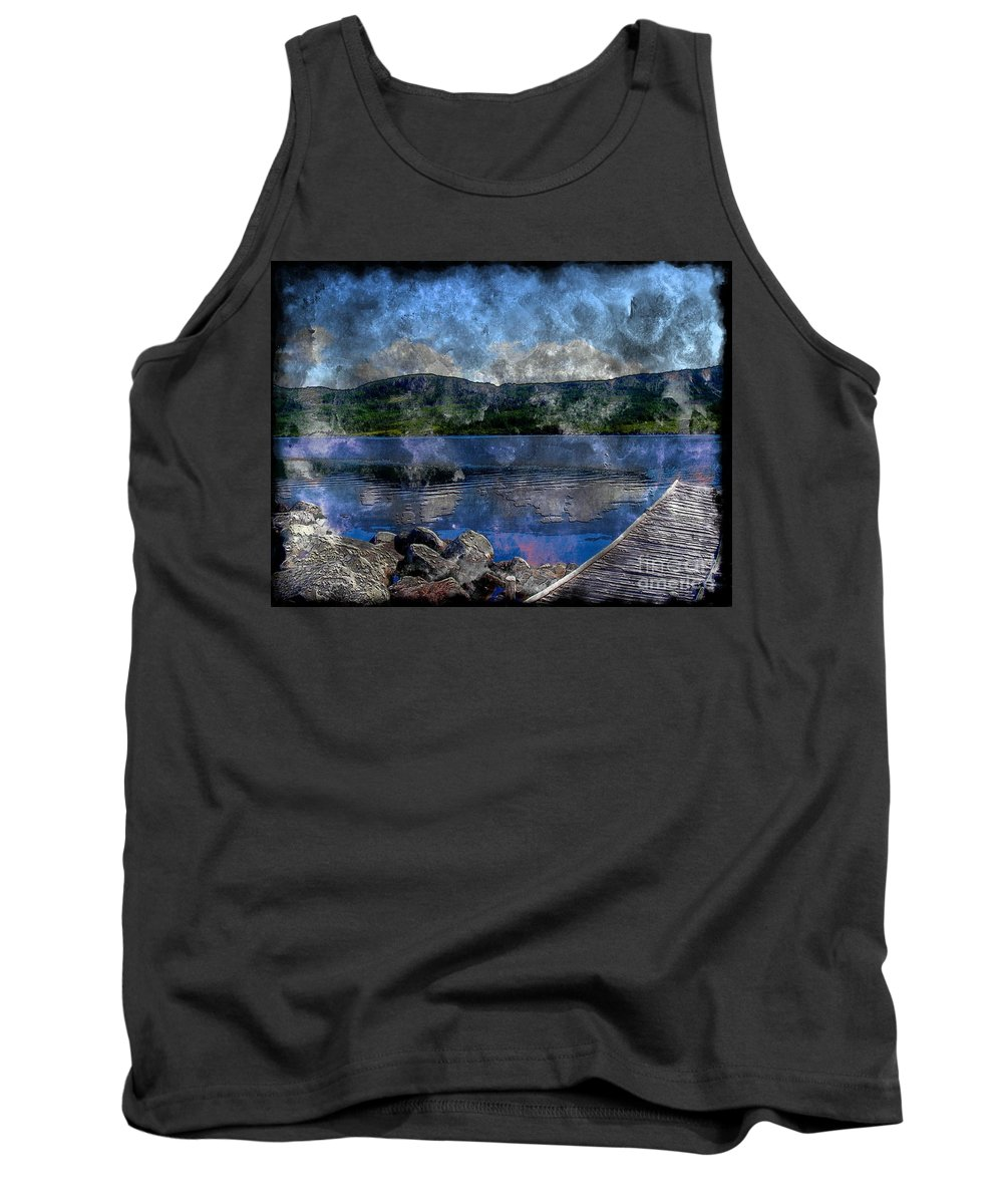At The Lake Tank Top featuring the photograph At The Lake - Fishing - Steel Engraving by Barbara Griffin