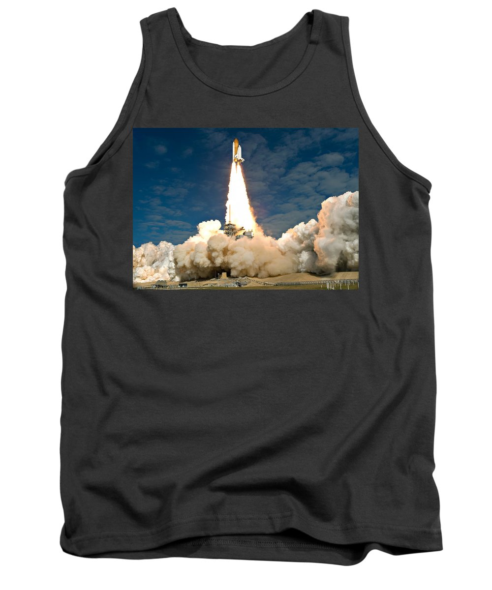Space Tank Top featuring the photograph Atlantis Departs by Ricky Barnard