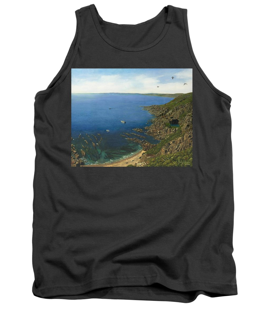 Landscape Tank Top featuring the painting August Afternoon At Whitsand Bay Cornwall by Richard Harpum