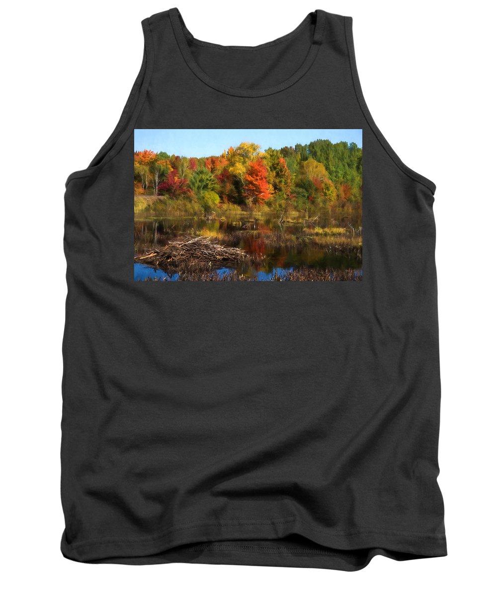 Georgia Mizuleva Tank Top featuring the digital art Autumn Beaver Pond Reflections by Georgia Mizuleva