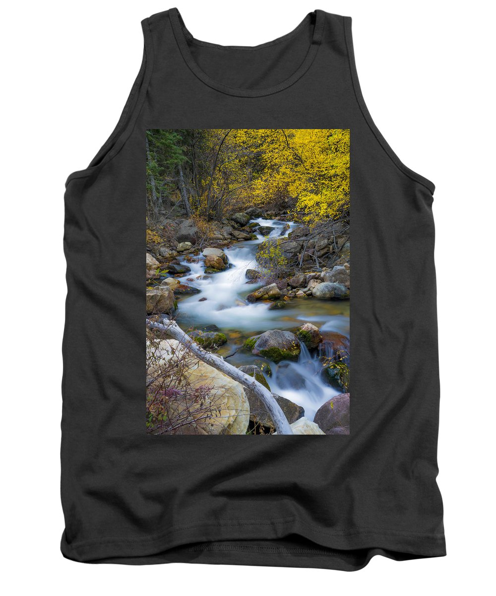 Autumn Fall Bend Tank Top featuring the photograph Autumn Fall Bend by Tayne Hunsaker