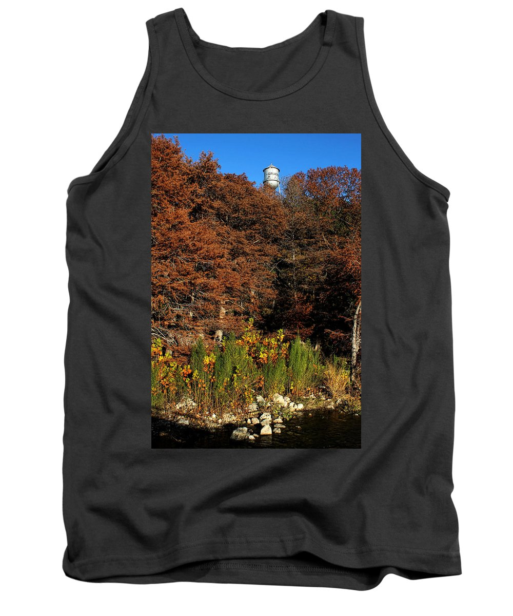 America Tank Top featuring the photograph Autumn In Gruene by Judy Vincent