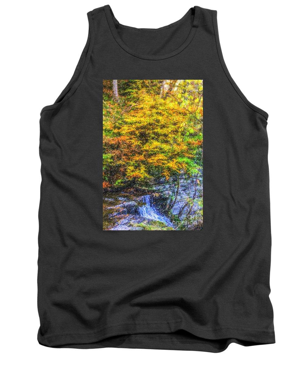Autumn Tank Top featuring the digital art Autumn Landscape by Liz Leyden