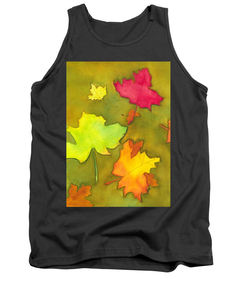 Autumn Tank Top featuring the painting Autumn Leaves by David Bartsch