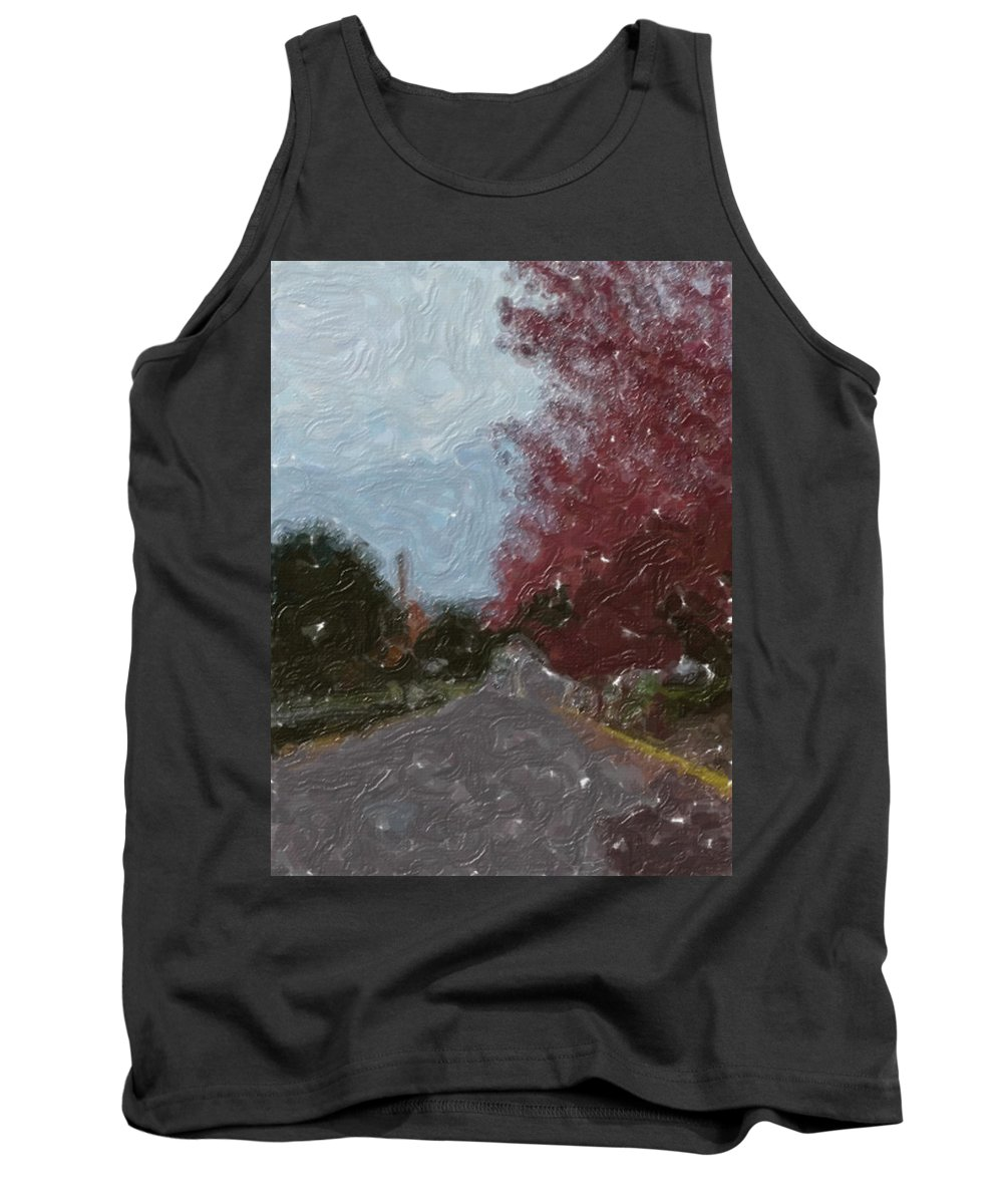 Autumn Tank Top featuring the painting Autumn Road by Sergey Bezhinets
