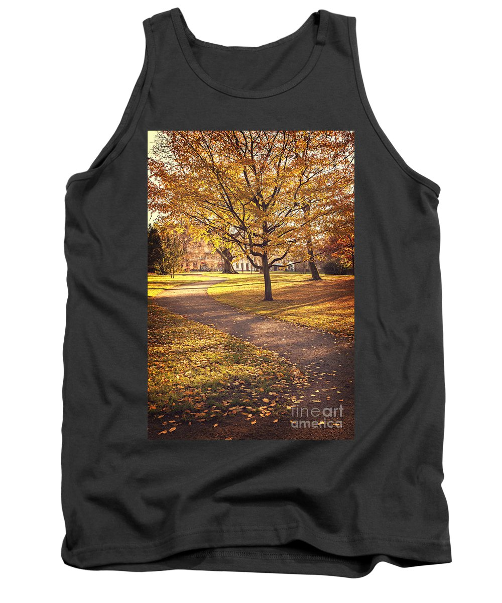 Nature Tank Top featuring the photograph Autumnal Park by Sophie McAulay