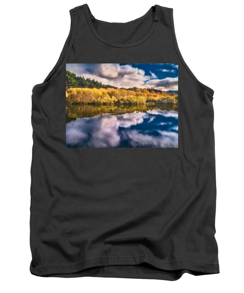 Klamath River Tank Top featuring the photograph Autumnal Reflections by Greg Nyquist