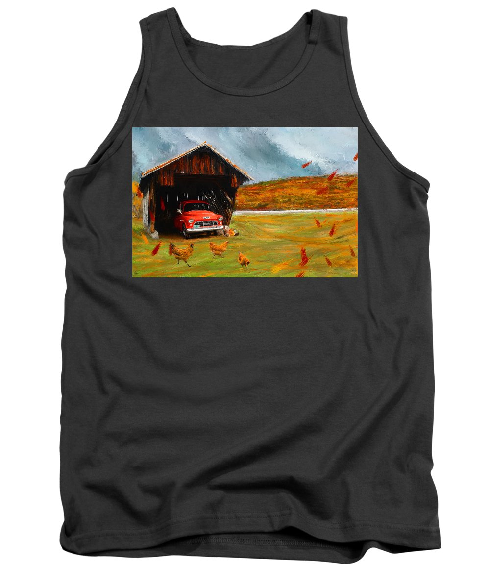 Vintage Truck Tank Top featuring the painting Autumnal Restful View-farm Scene Paintings by Lourry Legarde