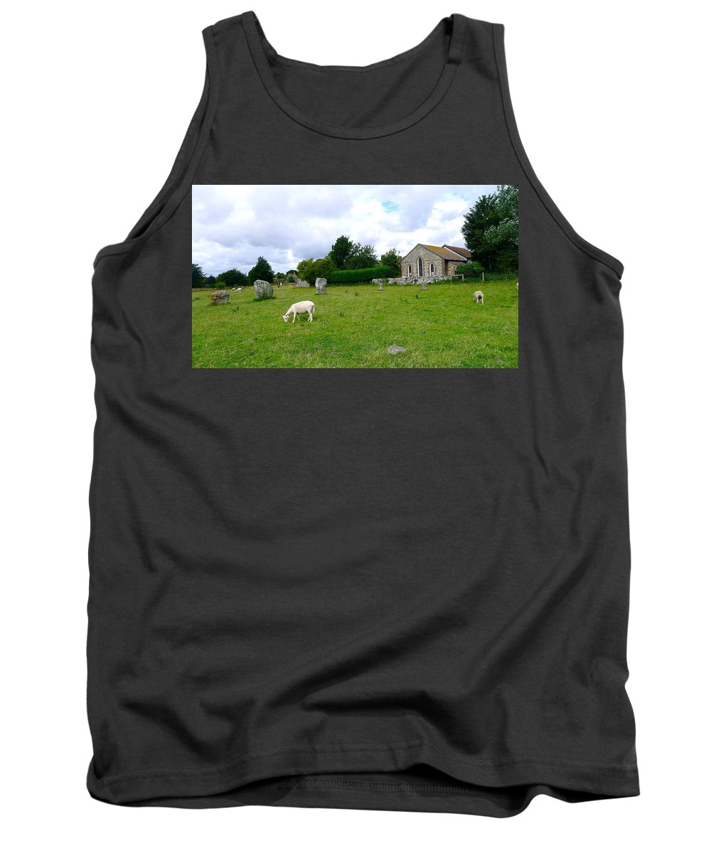 Avebury Tank Top featuring the photograph Avebury Stones And Sheep by Denise Mazzocco