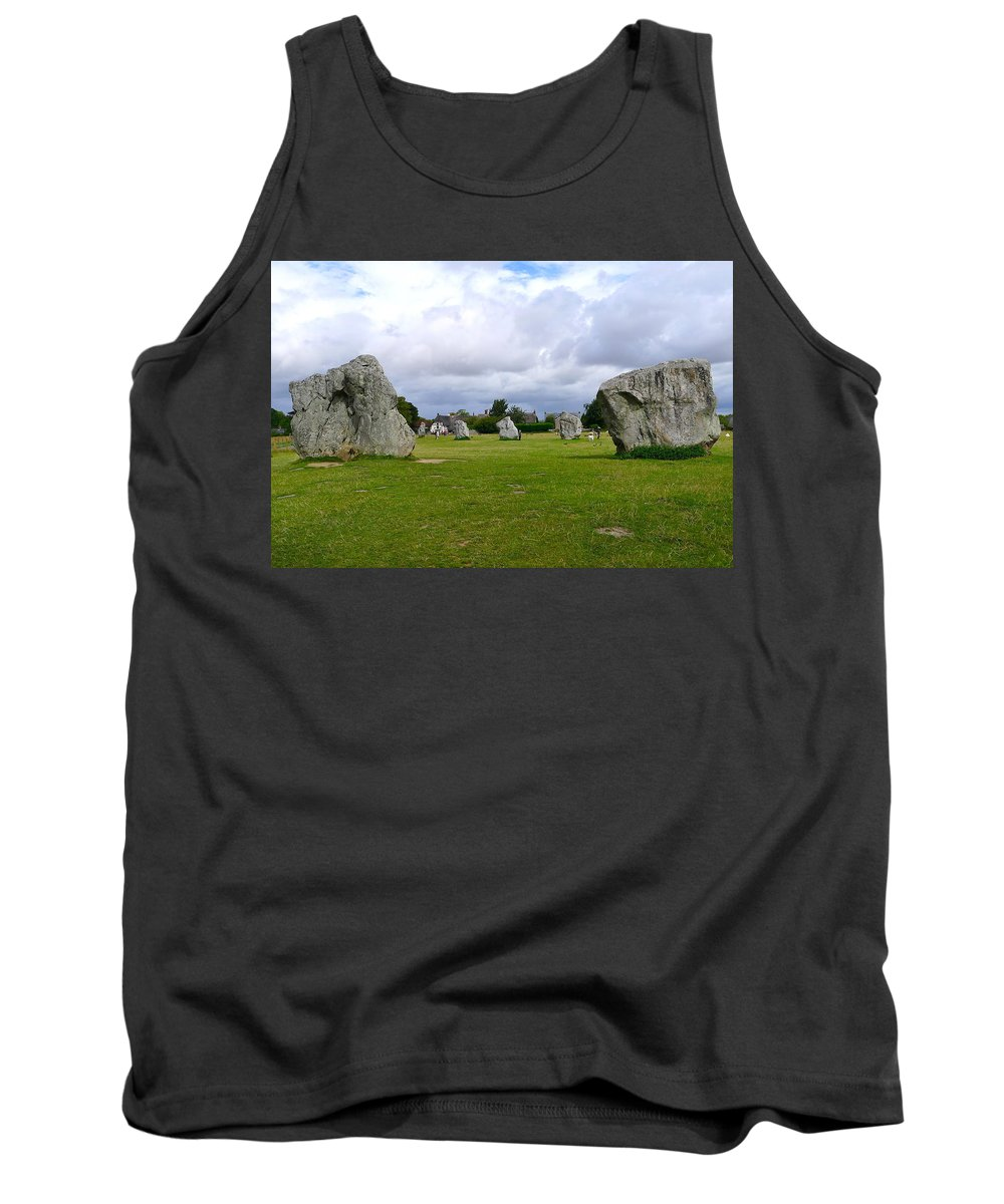 Avebury Tank Top featuring the photograph Avebury's Southern Entrance Stones by Denise Mazzocco