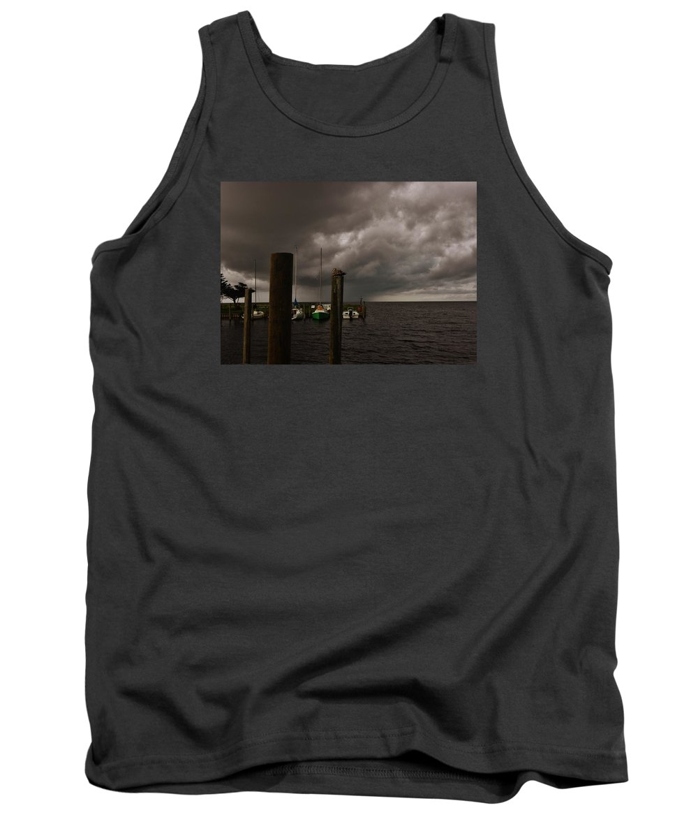 Outer Banks North Carolina Obx Avon Harbor Storm Seagull Sailboat Fishing Boat Wood Pylon Pamlico Sound Tank Top featuring the photograph Avon Harbor Storm 7/12 by Mark Lemmon