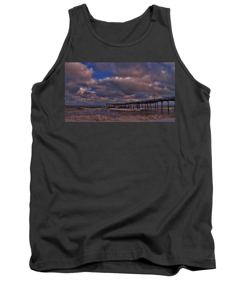 Mark Lemmon Cape Hatteras Nc The Outer Banks Photographer Subjects From Sunrise Tank Top featuring the photograph Avon Pier 3 3/04 by Mark Lemmon