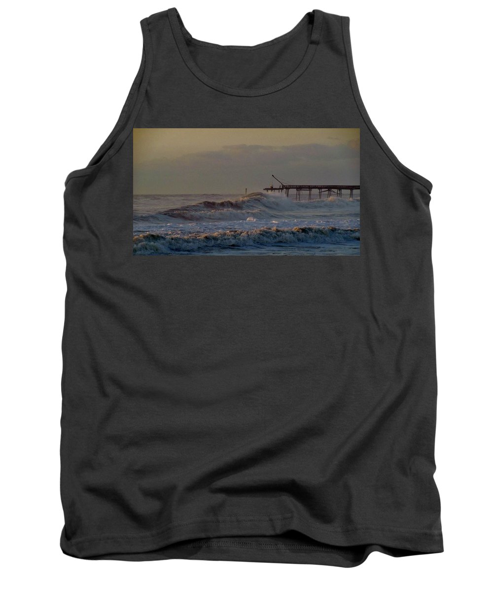 Mark Lemmon Cape Hatteras Nc The Outer Banks Photographer Subjects From Sunrise Tank Top featuring the photograph Avon Pier High Surf 3 3/11 by Mark Lemmon