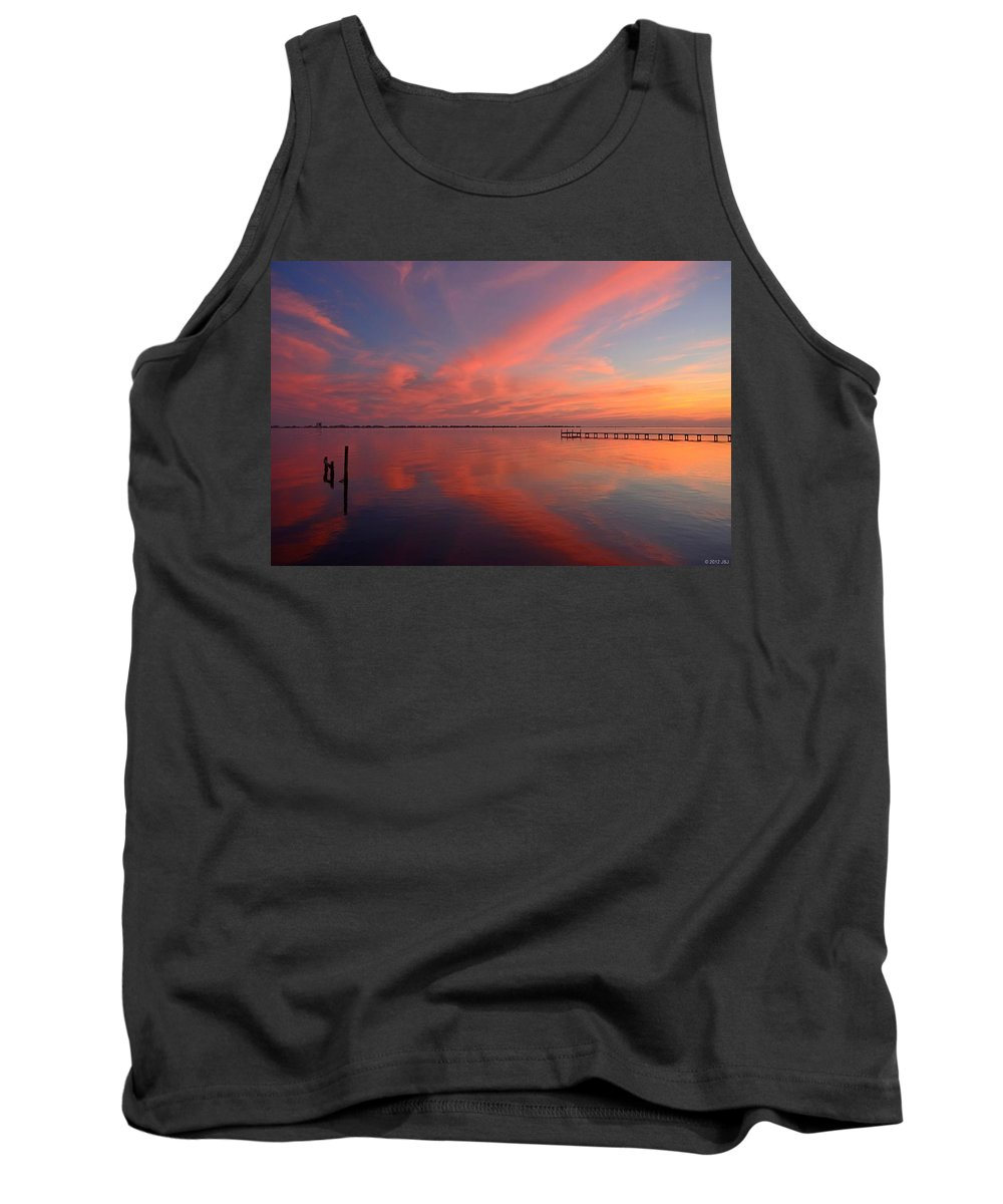 Awesome Tank Top featuring the photograph Awesome Fiery Red Clouds At Dusk Reflected On Dead Calm Santa Rosa Sound by Jeff at JSJ Photography