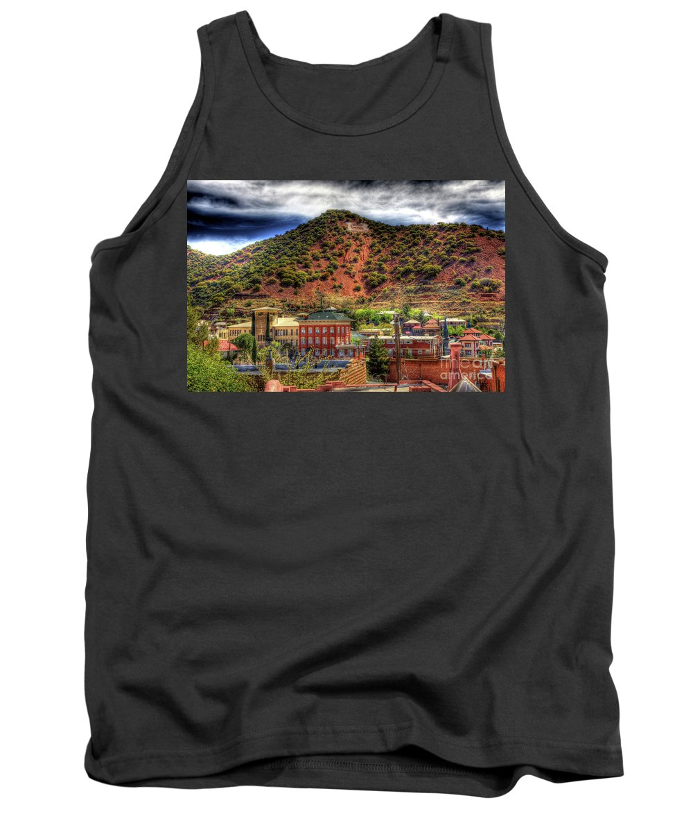 B Tank Top featuring the photograph B Hill Over Historic Bisbee by Charlene Mitchell