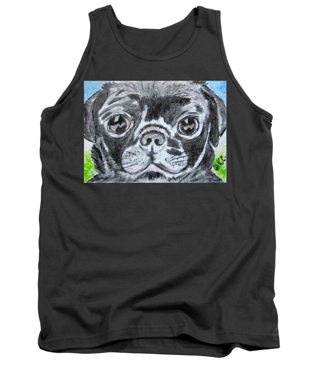 Baby Pug Tank Top featuring the painting Baby Black Pug by Kathy Marrs Chandler