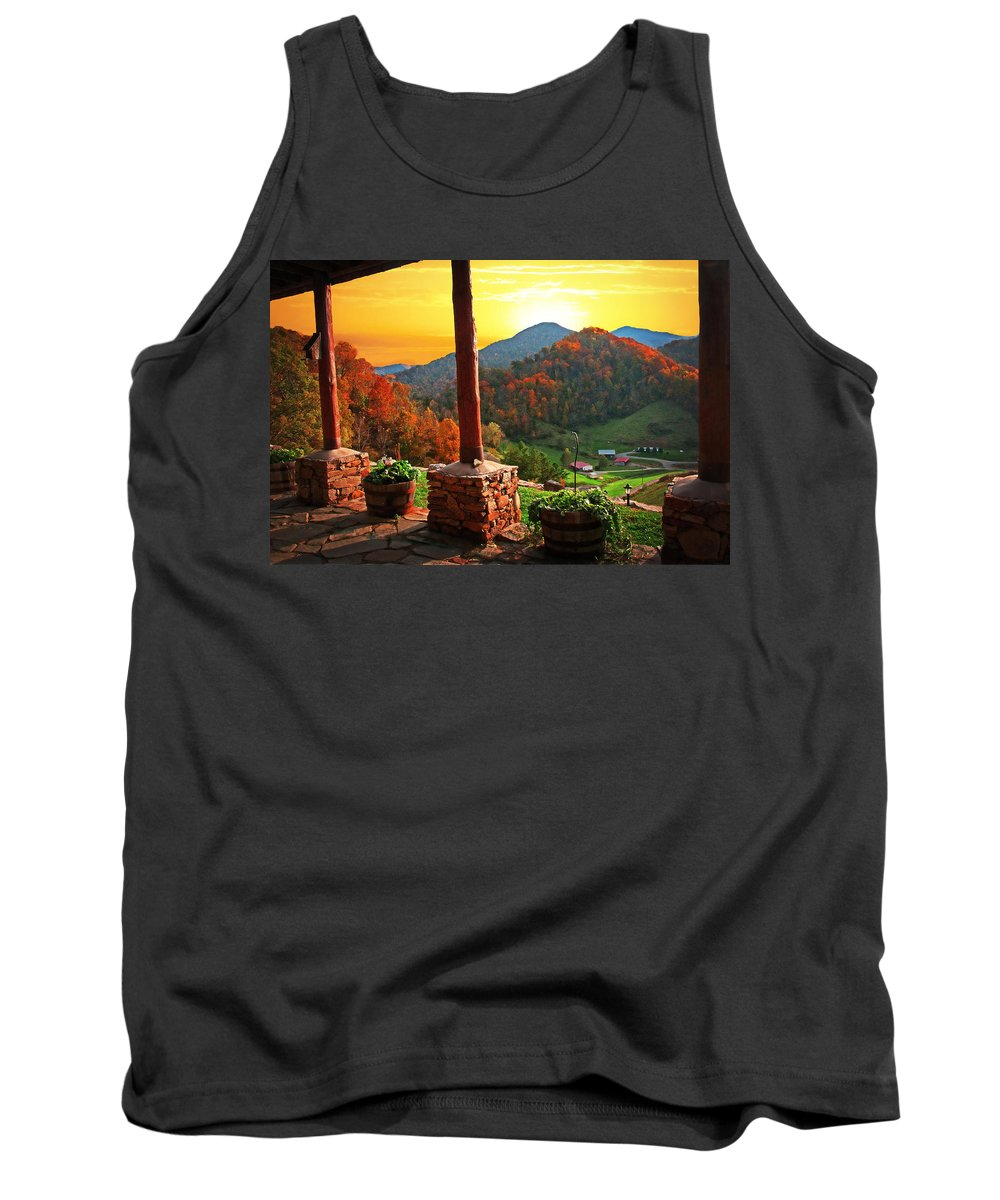 Landscape Tank Top featuring the photograph Back Porch Paradise by Lynn Bauer