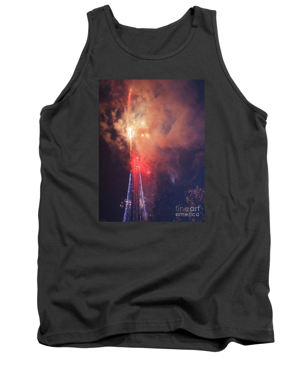 Firework Art Urban Scene Semi Abstract Baltimore Celebration Fireworks Explosion Night George Washington Excitement Monument Lighting Ceremony Drama Vertical Vision Smoke Invitation To A Party Invitation For New Years Eve Metal Frame Wood Print Canvas Print Poster Print Available On Phone Cases Mugs Shower Curtains T Shirts Spiral Notebooks And Tote Bags Tank Top featuring the photograph How Baltimore Celebrates # 3 by Marcus Dagan