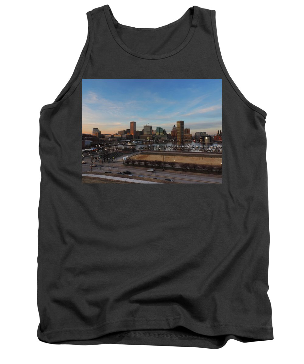 Baltimore Tank Top featuring the photograph Baltimore Skyline At Sunset From Federal Hill by Cityscape Photography